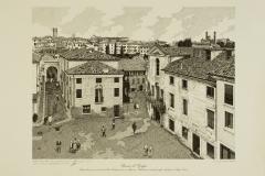 Bassano: veduta dell'ingresso del Ponte Vecchio presa da via Angarano