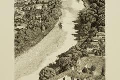 Bassano: veduta del fiume Brenta col convento di San Fortunato